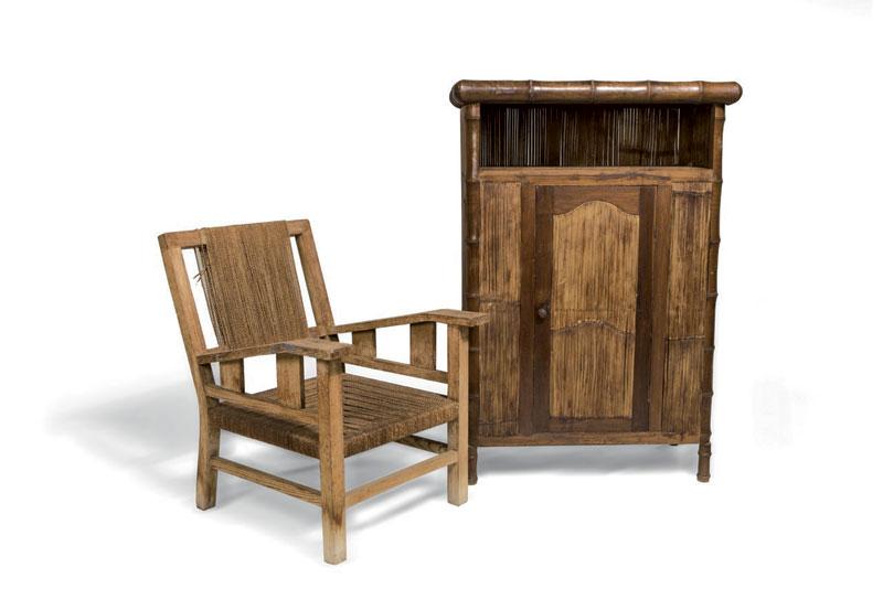Ensemble fauteuil et meuble en bambou, provenant de la collection personnelle.