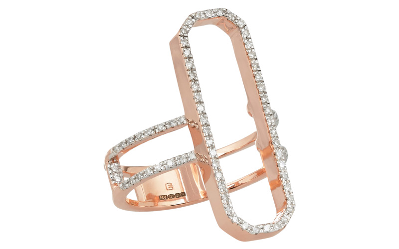 Bague en plaqué or rose serti de diamants, Monica Vinader, WWW.NET-A-PORTER.COM.