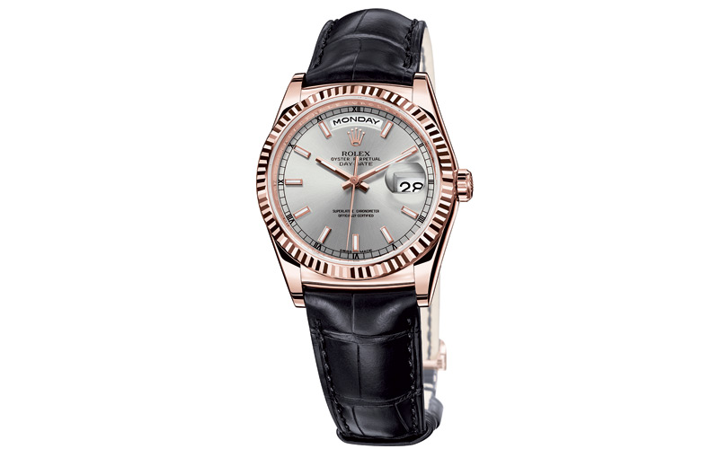 Montre  Day-Date Everose en or rose et bracelet en cuir d'alligator, ROLEX.