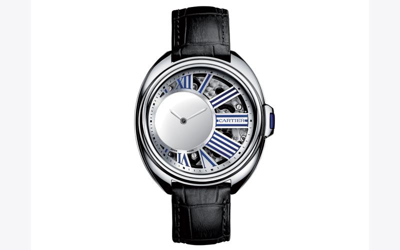 Montre Clé de Cartier L'heure mystérieuse en palladium et bracelet en cuir d'alligator, CARTIER.