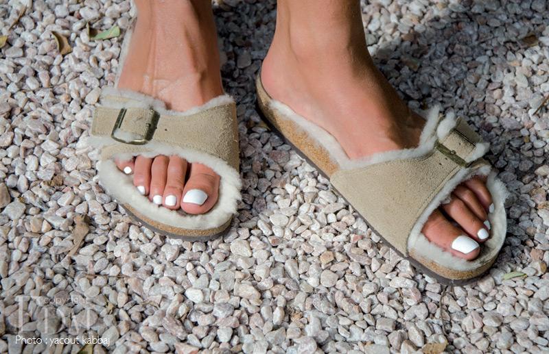 Sandales en daim fourré, BIRKENSTOCK.
