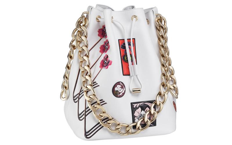 Sac « Dior Bubble » en veau paradise blanc, badges en cuir.